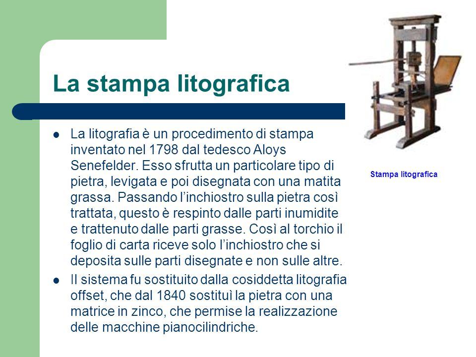 La stampa litografica La litografia è un procedimento di stampa inventato nel 1798 dal tedesco Aloys Senefelder. Esso sfrutta un particolare tipo di p