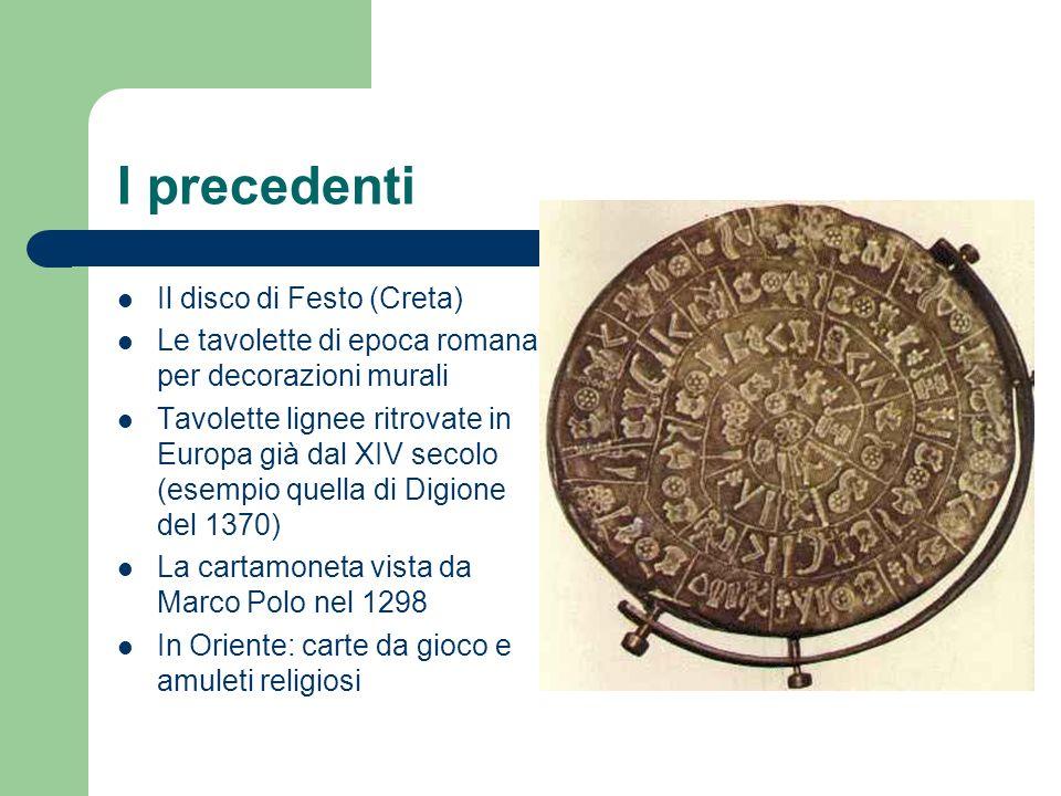 I precedenti Il disco di Festo (Creta) Le tavolette di epoca romana per decorazioni murali Tavolette lignee ritrovate in Europa già dal XIV secolo (es