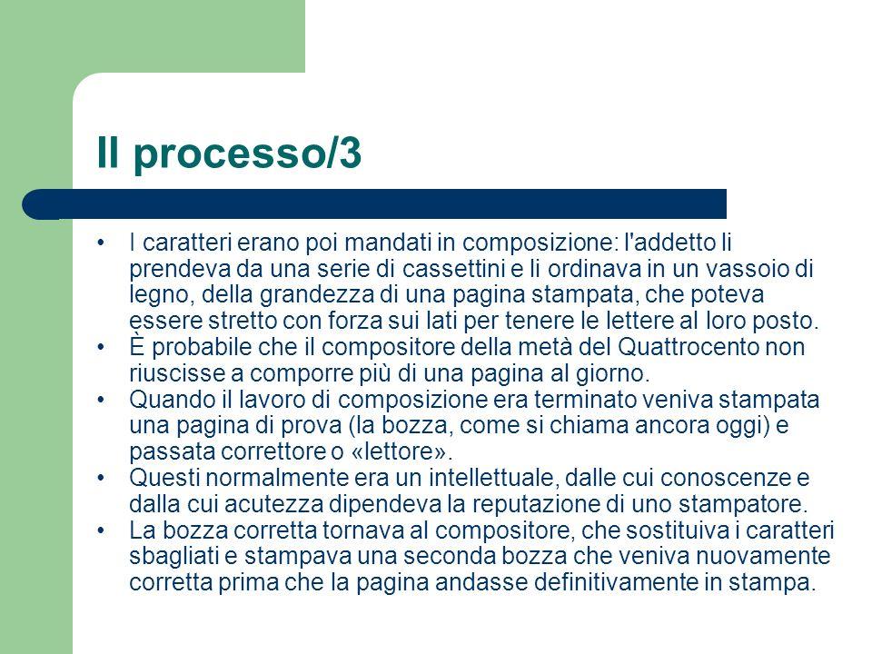 Il processo/3 I caratteri erano poi mandati in composizione: l'addetto li prendeva da una serie di cassettini e li ordinava in un vassoio di legno, de