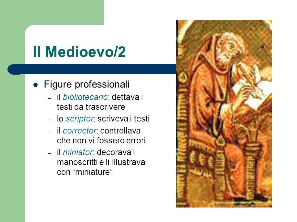 Il Medioevo/2 Figure professionali – il bibliotecario: dettava i testi da trascrivere – lo scriptor: scriveva i testi – il corrector: controllava che