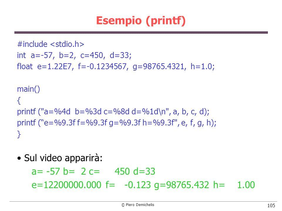 © Piero Demichelis 105 Esempio (printf) #include int a=-57, b=2, c=450, d=33; float e=1.22E7, f=-0.1234567, g=98765.4321, h=1.0; main() { printf ( a=%4d b=%3d c=%8d d=%1d\n , a, b, c, d); printf (e=%9.3f f=%9.3f g=%9.3f h=%9.3f , e, f, g, h); } Sul video apparirà: a= -57 b= 2 c= 450 d=33 e=12200000.000 f= -0.123 g=98765.432 h= 1.00