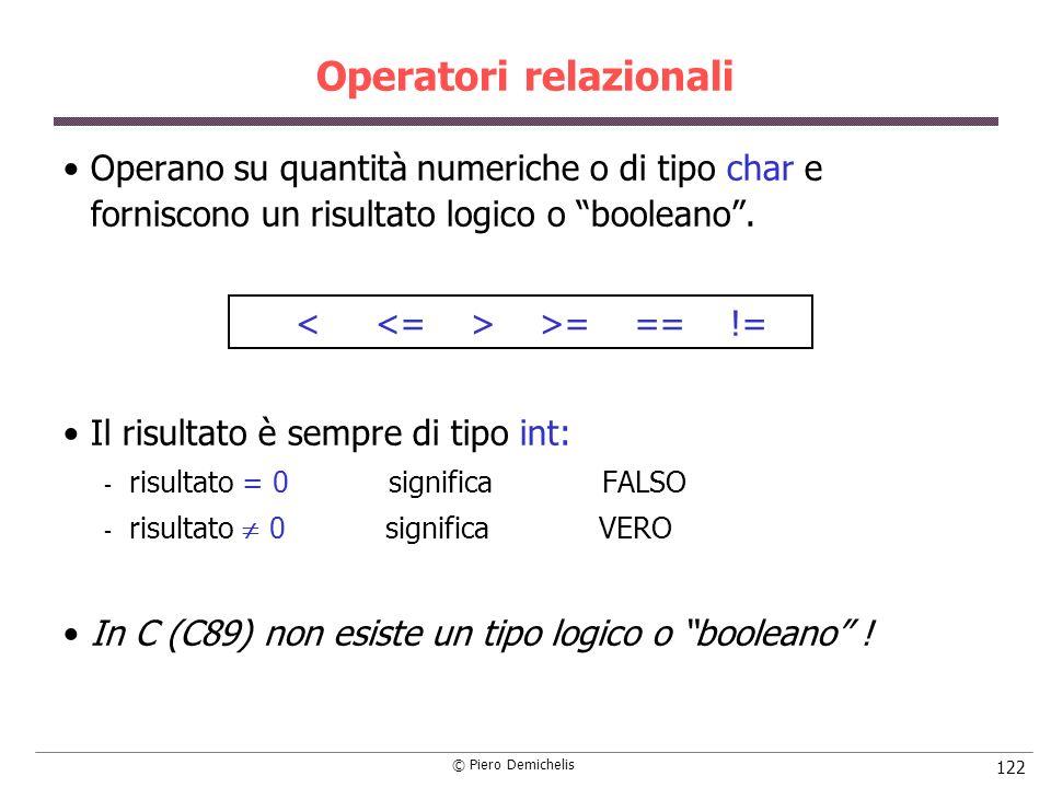 © Piero Demichelis 122 Operatori relazionali Operano su quantità numeriche o di tipo char e forniscono un risultato logico o booleano. >= == != Il ris