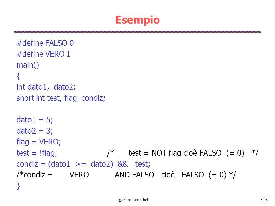 © Piero Demichelis 125 Esempio #define FALSO 0 #define VERO 1 main() { int dato1, dato2; short int test, flag, condiz; dato1 = 5; dato2 = 3; flag = VE