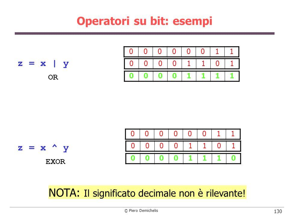 © Piero Demichelis 130 Operatori su bit: esempi z = x | y z = x ^ y 00000011 00001101 00001111 00000011 00001101 00001110 NOTA: Il significato decimal