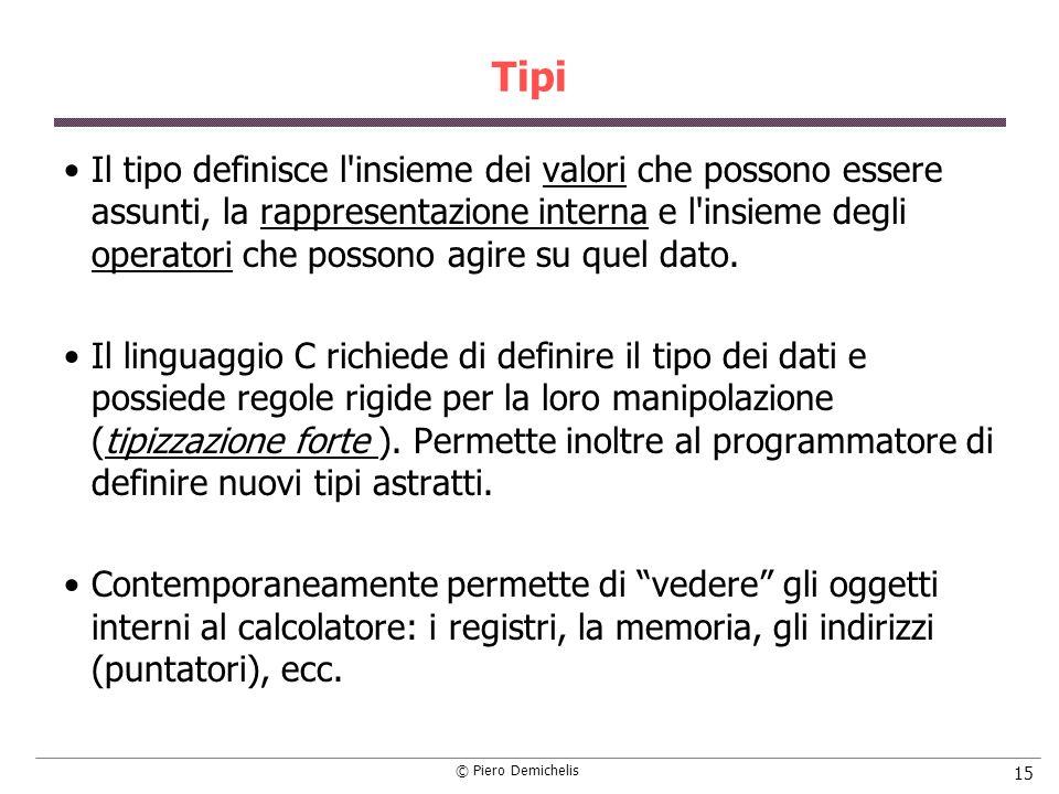 © Piero Demichelis 15 Tipi Il tipo definisce l insieme dei valori che possono essere assunti, la rappresentazione interna e l insieme degli operatori che possono agire su quel dato.