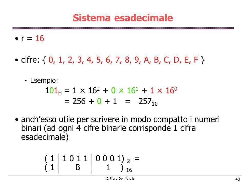 © Piero Demichelis 43 Sistema esadecimale r = 16 cifre: { 0, 1, 2, 3, 4, 5, 6, 7, 8, 9, A, B, C, D, E, F } Esempio: 101 H = 1 × 16 2 + 0 × 16 1 + 1 × 16 0 = 256 + 0 + 1 = 257 10 anchesso utile per scrivere in modo compatto i numeri binari (ad ogni 4 cifre binarie corrisponde 1 cifra esadecimale) ( 1 1 0 1 1 0 0 0 1) 2 = ( 1 B 1 ) 16