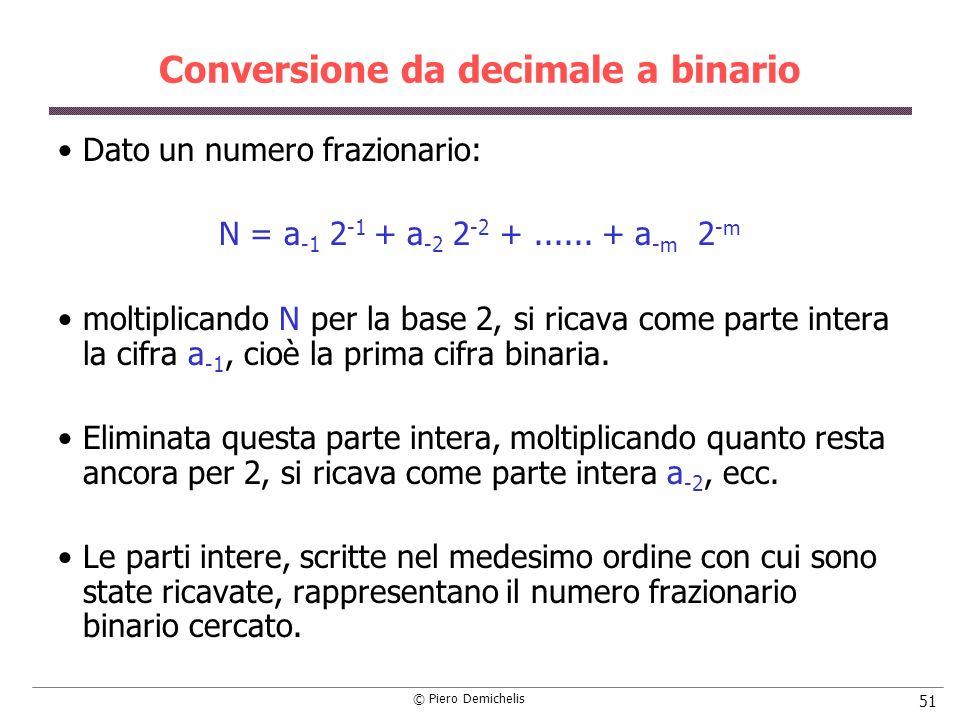 © Piero Demichelis 51 Conversione da decimale a binario Dato un numero frazionario: N = a -1 2 -1 + a -2 2 -2 +...... + a -m 2 -m moltiplicando N per