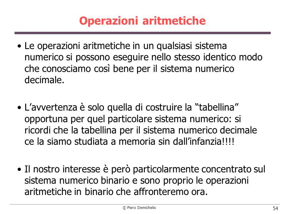 © Piero Demichelis 54 Operazioni aritmetiche Le operazioni aritmetiche in un qualsiasi sistema numerico si possono eseguire nello stesso identico modo che conosciamo così bene per il sistema numerico decimale.