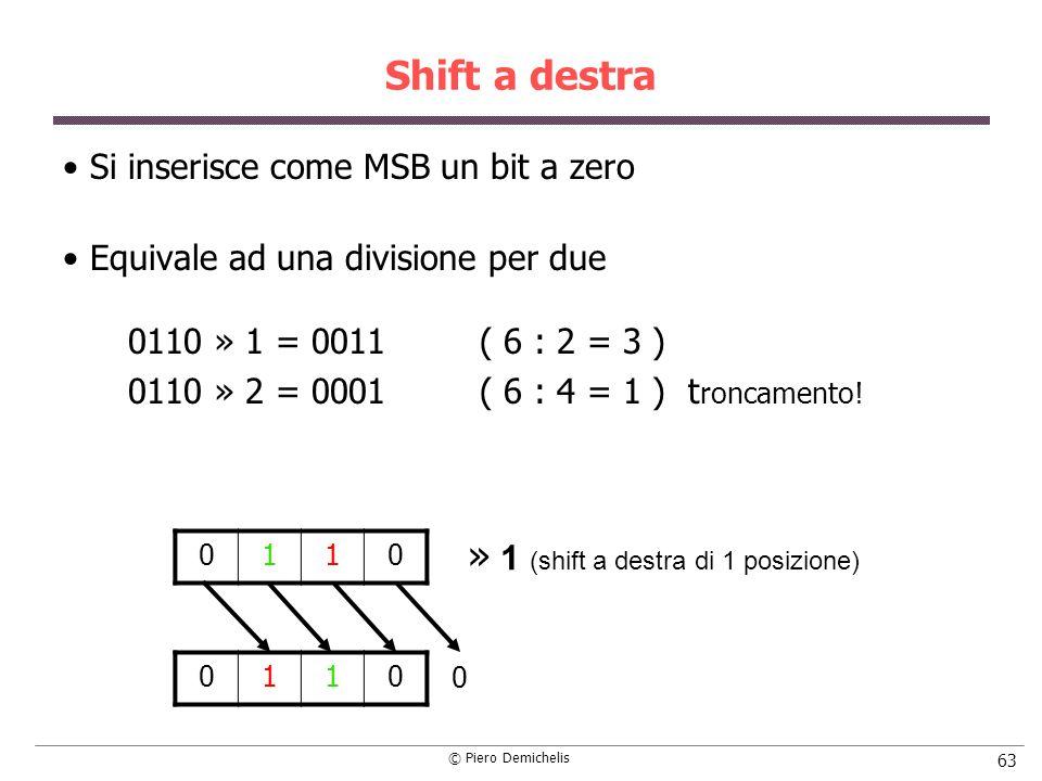 © Piero Demichelis 63 Shift a destra Si inserisce come MSB un bit a zero Equivale ad una divisione per due 0110 » 1 = 0011( 6 : 2 = 3 ) 0110 » 2 = 0001( 6 : 4 = 1 ) t roncamento.