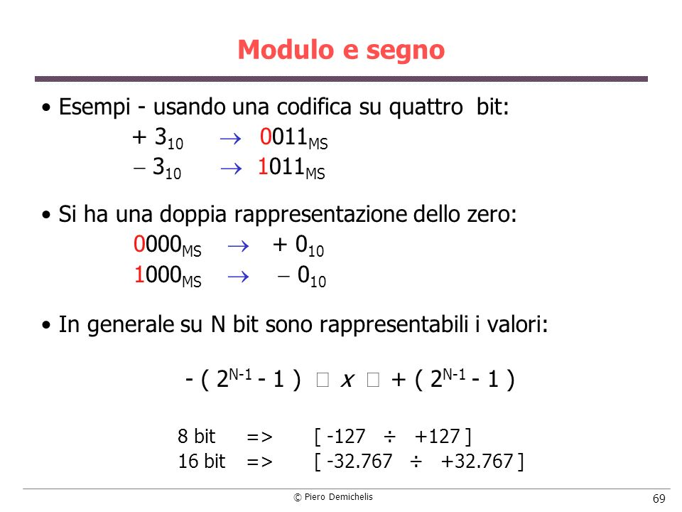 © Piero Demichelis 69 Modulo e segno Esempi - usando una codifica su quattro bit: + 3 10 0011 MS 3 10 1011 MS Si ha una doppia rappresentazione dello zero: 0000 MS + 0 10 1000 MS 0 10 In generale su N bit sono rappresentabili i valori: - ( 2 N-1 - 1 ) x + ( 2 N-1 - 1 ) 8 bit=> [ -127 ÷ +127 ] 16 bit=> [ -32.767 ÷ +32.767 ]