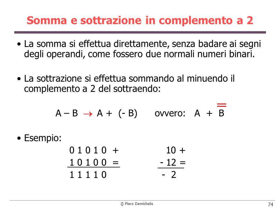 © Piero Demichelis 74 Somma e sottrazione in complemento a 2 La somma si effettua direttamente, senza badare ai segni degli operandi, come fossero due normali numeri binari.