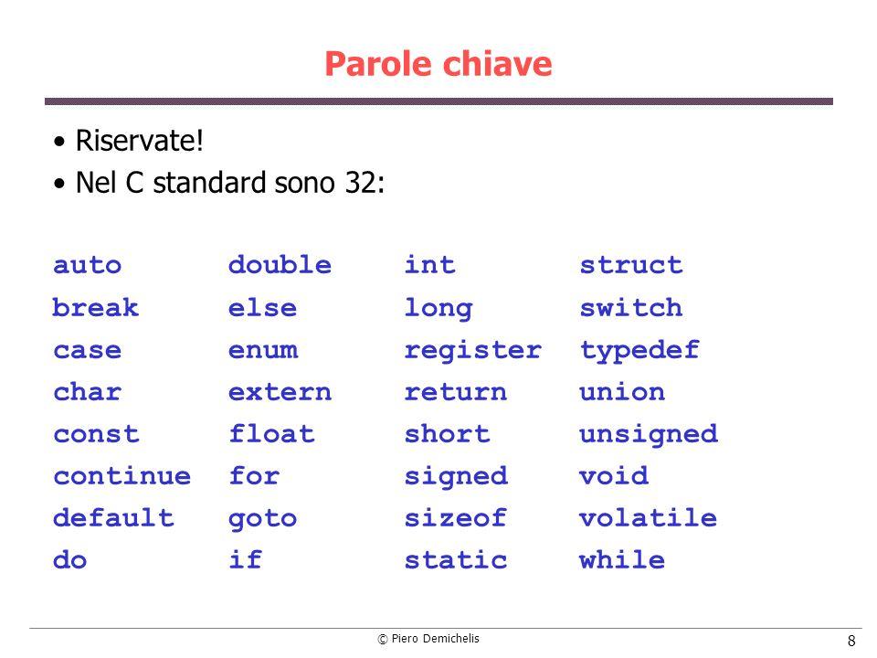 © Piero Demichelis 109 Listruzione scanf Quando deve leggere un numero intero o reale, il cursore avanza fino al primo carattere diverso da spazio.