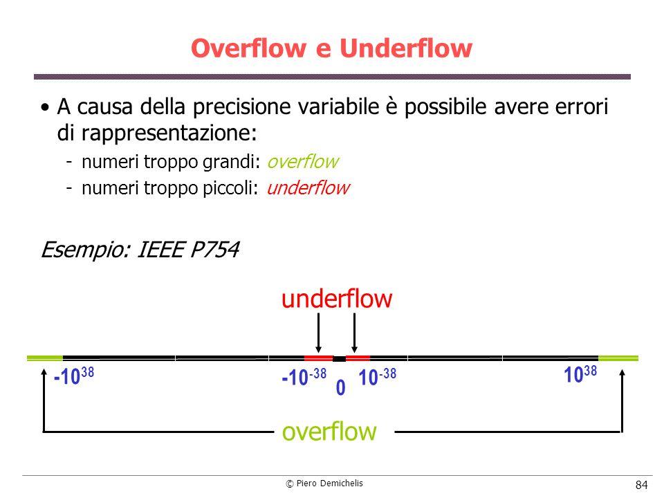 © Piero Demichelis 84 Overflow e Underflow A causa della precisione variabile è possibile avere errori di rappresentazione: numeri troppo grandi: overflow numeri troppo piccoli: underflow Esempio: IEEE P754 0 -10 38 -10 -38 10 -38 10 38 overflow underflow