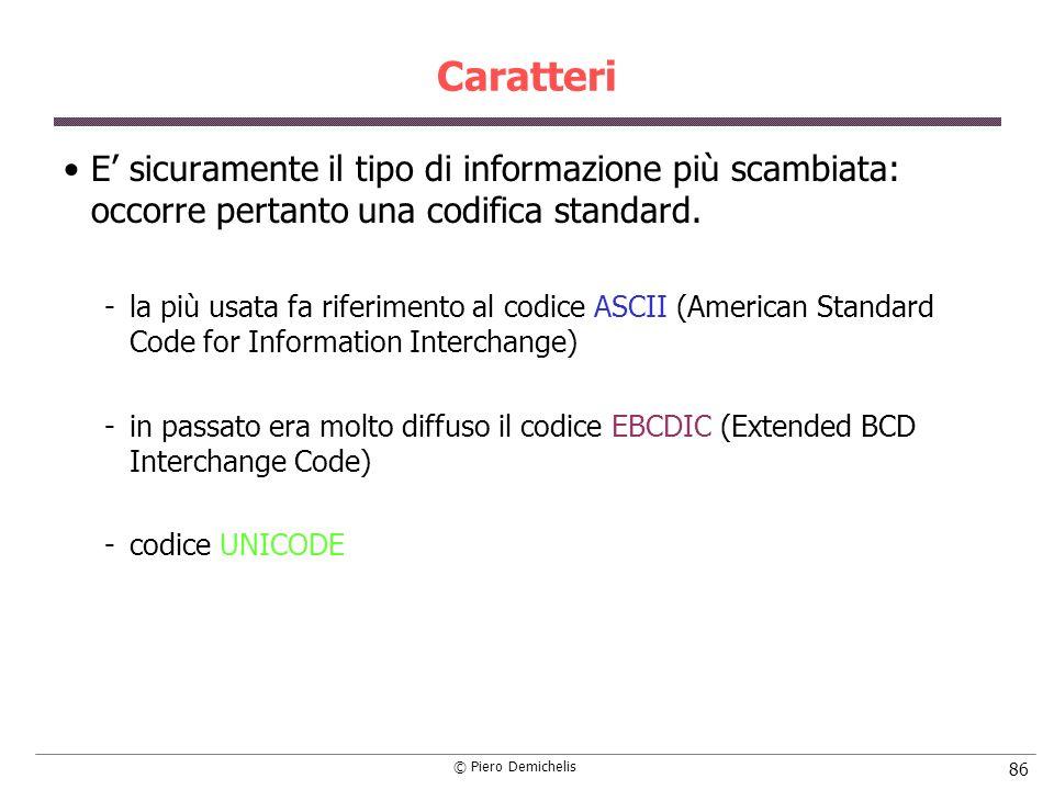 © Piero Demichelis 86 Caratteri E sicuramente il tipo di informazione più scambiata: occorre pertanto una codifica standard. la più usata fa riferime