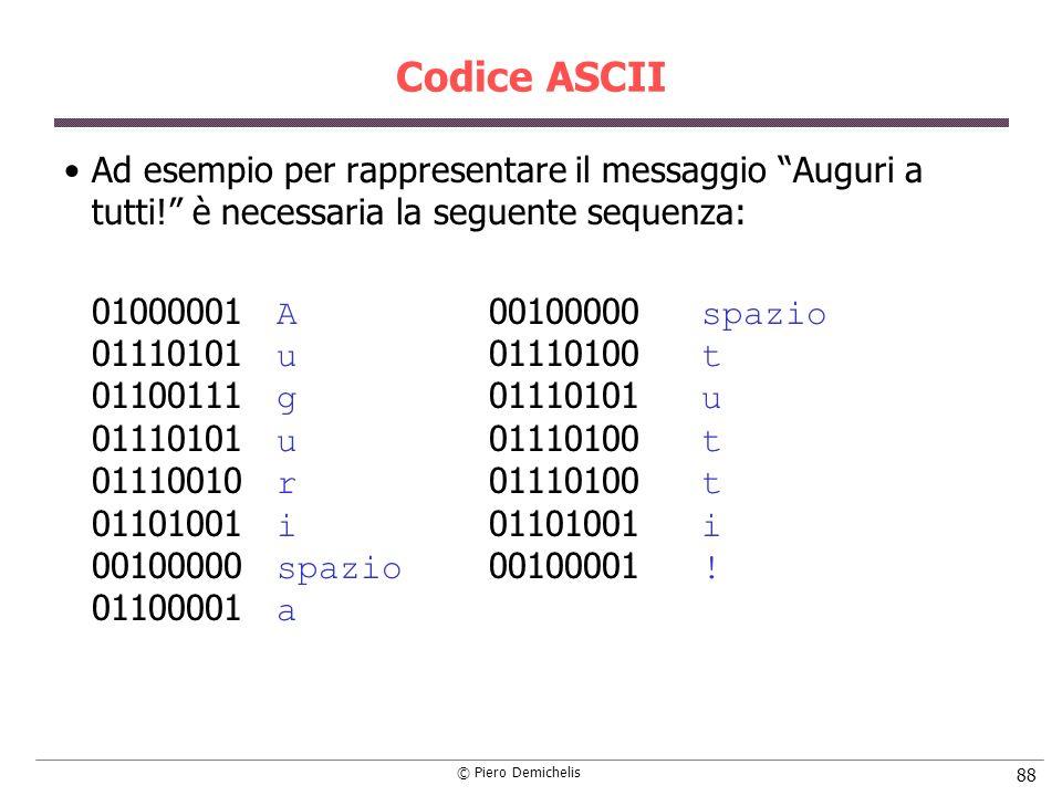 © Piero Demichelis 88 Codice ASCII Ad esempio per rappresentare il messaggio Auguri a tutti! è necessaria la seguente sequenza: 01000001 A 00100000 sp