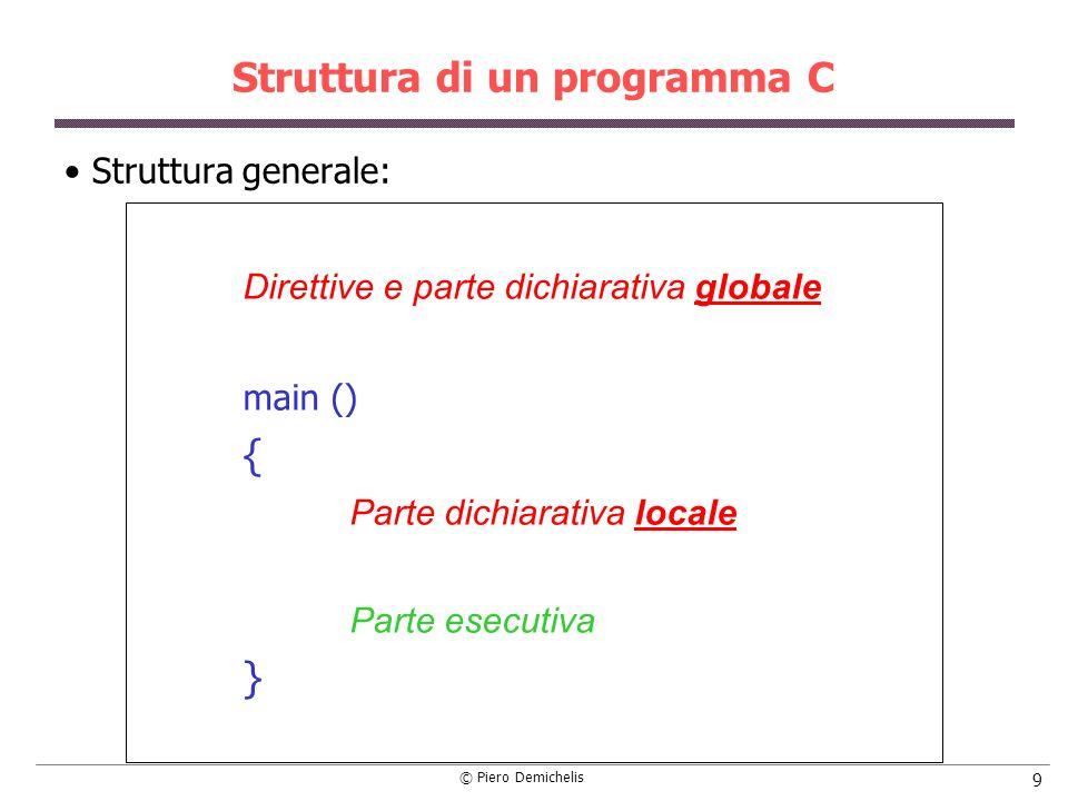 © Piero Demichelis 9 Struttura di un programma C Struttura generale: Direttive e parte dichiarativa globale main () { Parte dichiarativa locale Parte esecutiva }