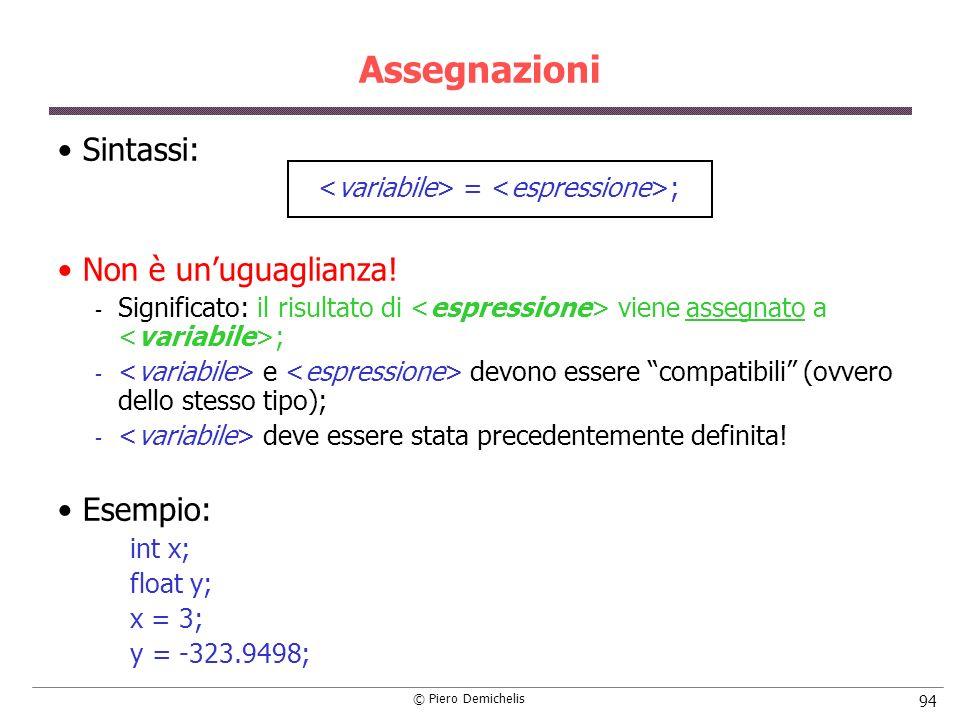 © Piero Demichelis 94 Assegnazioni Sintassi: = ; Non è unuguaglianza!  Significato: il risultato di viene assegnato a ;  e devono essere compatibili