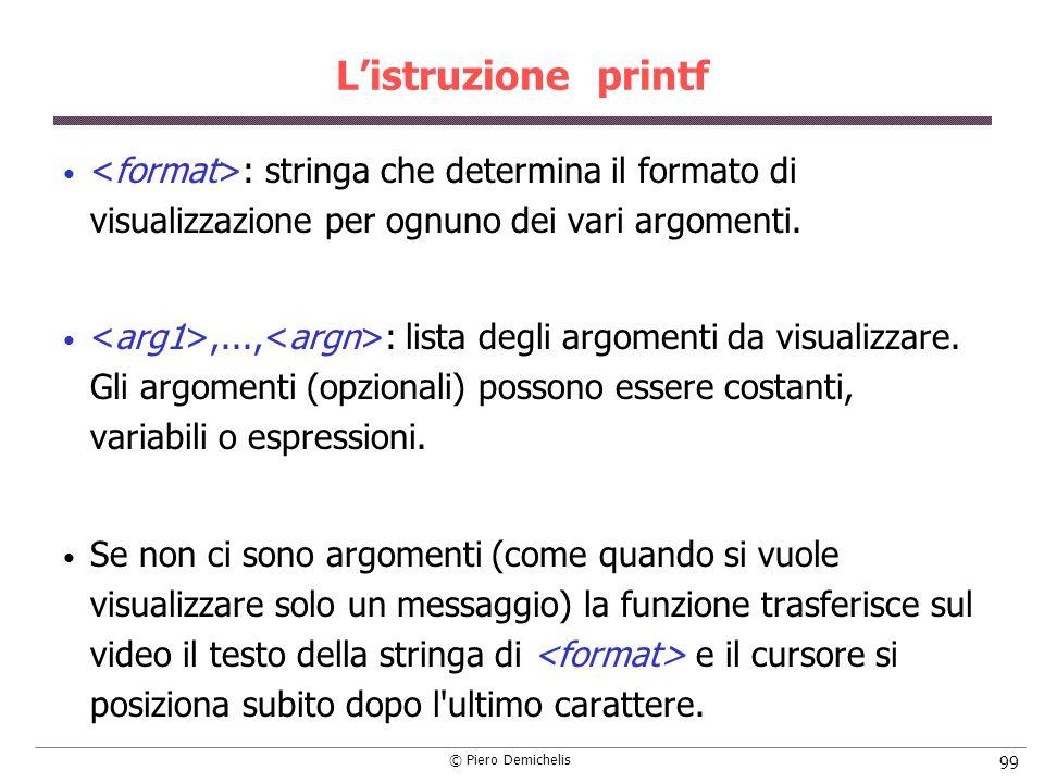 © Piero Demichelis 99 Listruzione printf : stringa che determina il formato di visualizzazione per ognuno dei vari argomenti.,..., : lista degli argom