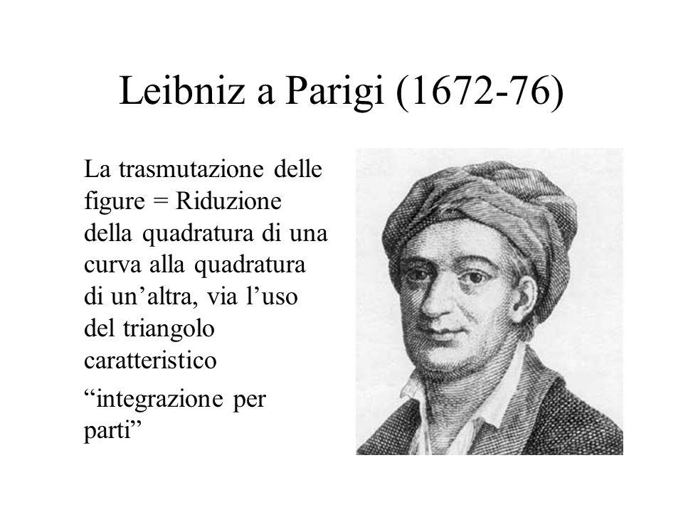 Leibniz a Parigi (1672-76) La trasmutazione delle figure = Riduzione della quadratura di una curva alla quadratura di unaltra, via luso del triangolo