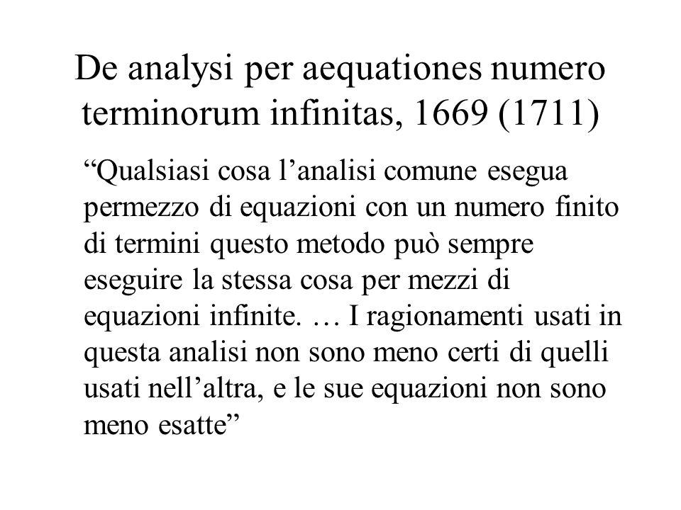 De analysi per aequationes numero terminorum infinitas, 1669 (1711) Qualsiasi cosa lanalisi comune esegua permezzo di equazioni con un numero finito d