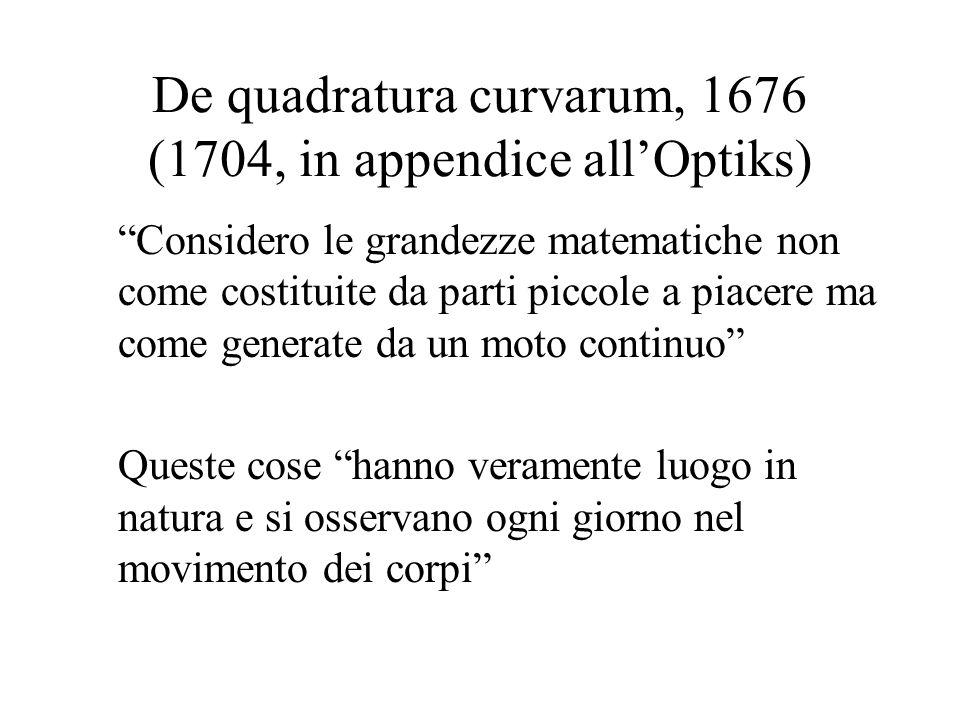 De quadratura curvarum, 1676 (1704, in appendice allOptiks) Considero le grandezze matematiche non come costituite da parti piccole a piacere ma come