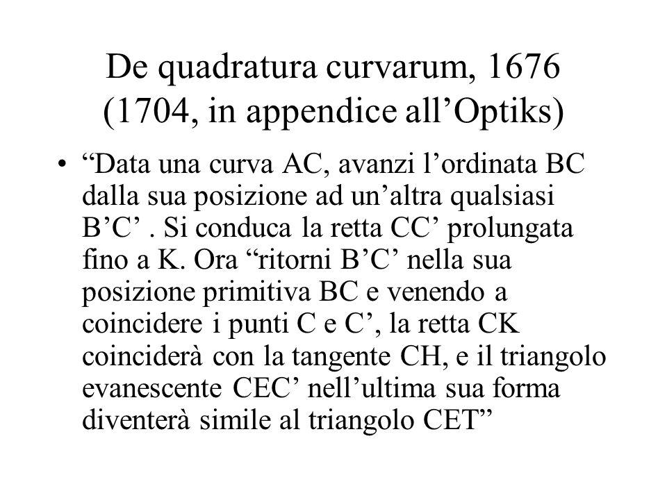 De quadratura curvarum, 1676 (1704, in appendice allOptiks) Data una curva AC, avanzi lordinata BC dalla sua posizione ad unaltra qualsiasi BC. Si con