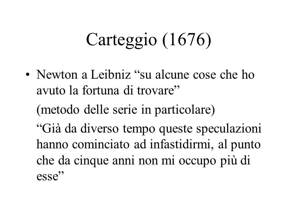 Carteggio (1676) Newton a Leibniz su alcune cose che ho avuto la fortuna di trovare (metodo delle serie in particolare) Già da diverso tempo queste sp
