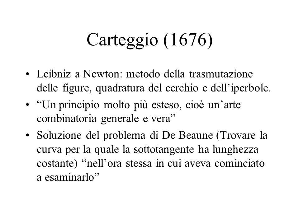 Carteggio (1676) Leibniz a Newton: metodo della trasmutazione delle figure, quadratura del cerchio e delliperbole. Un principio molto più esteso, cioè