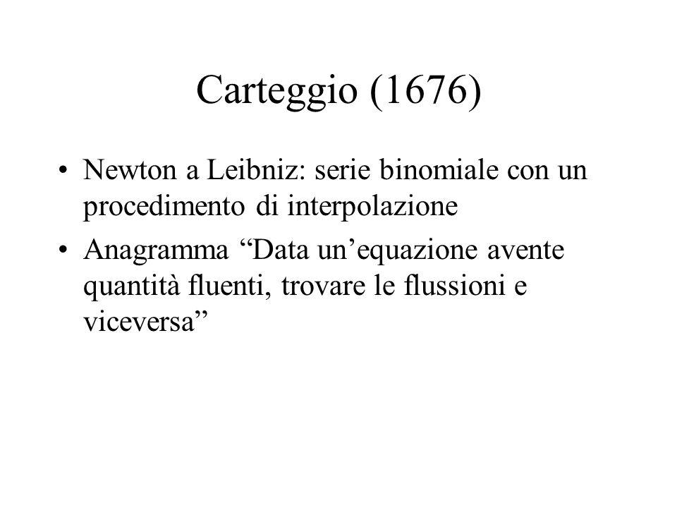 Carteggio (1676) Newton a Leibniz: serie binomiale con un procedimento di interpolazione Anagramma Data unequazione avente quantità fluenti, trovare l