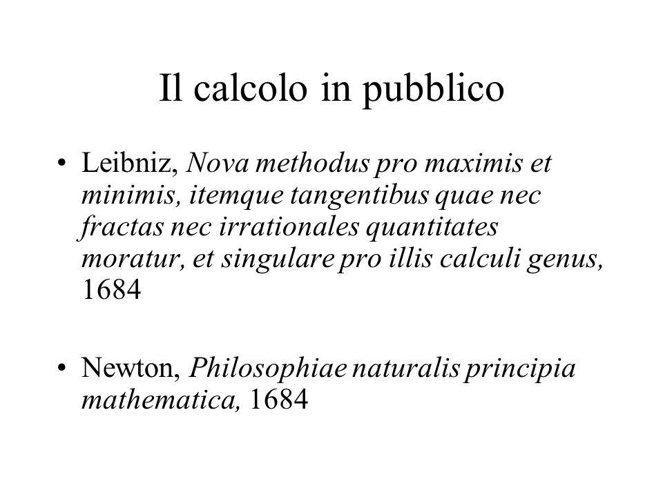 Il calcolo in pubblico Leibniz, Nova methodus pro maximis et minimis, itemque tangentibus quae nec fractas nec irrationales quantitates moratur, et si