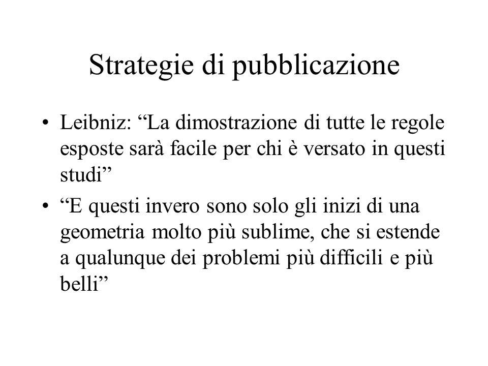 Strategie di pubblicazione Leibniz: La dimostrazione di tutte le regole esposte sarà facile per chi è versato in questi studi E questi invero sono sol