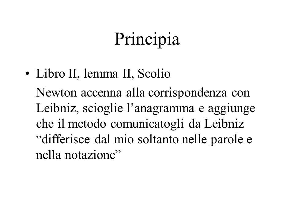 Principia Libro II, lemma II, Scolio Newton accenna alla corrispondenza con Leibniz, scioglie lanagramma e aggiunge che il metodo comunicatogli da Lei