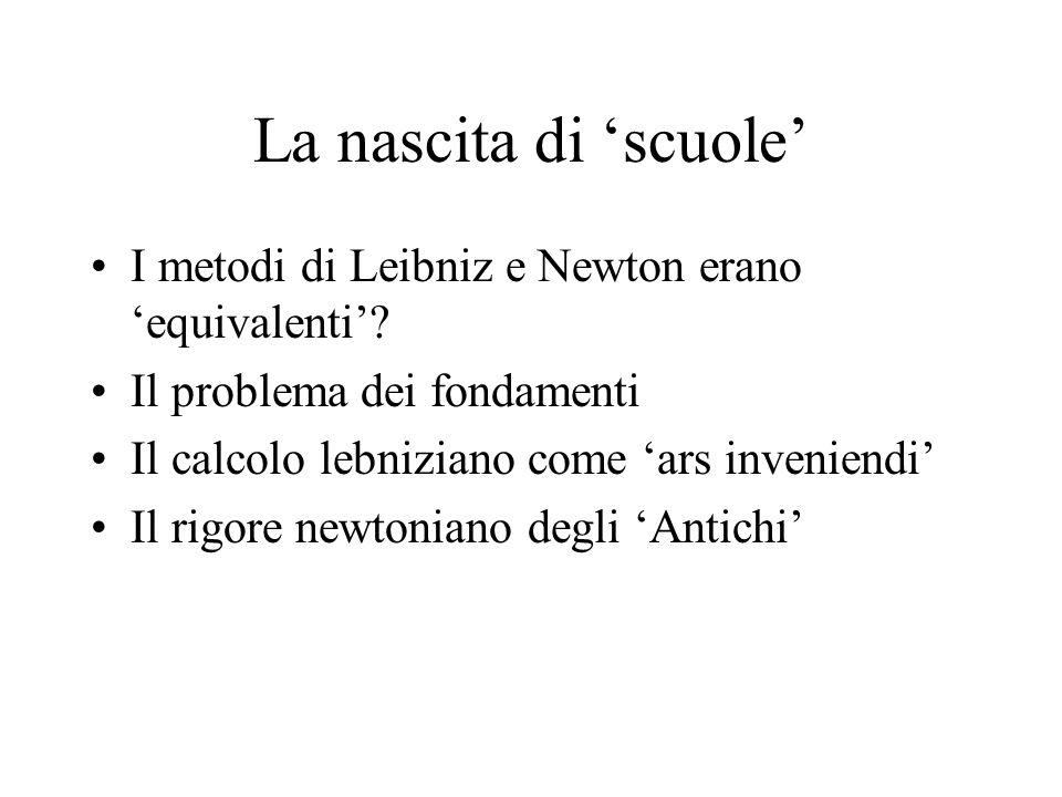La nascita di scuole I metodi di Leibniz e Newton erano equivalenti? Il problema dei fondamenti Il calcolo lebniziano come ars inveniendi Il rigore ne