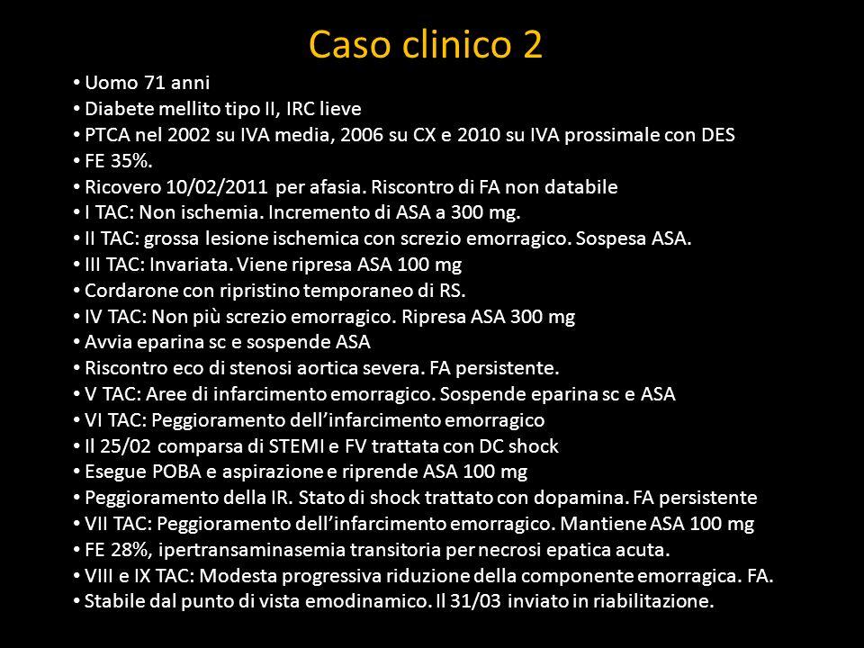 Caso clinico 2 Uomo 71 anni Diabete mellito tipo II, IRC lieve PTCA nel 2002 su IVA media, 2006 su CX e 2010 su IVA prossimale con DES FE 35%. Ricover