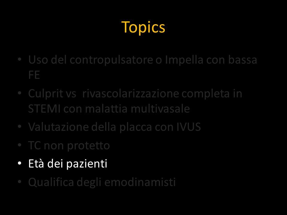 Topics Uso del contropulsatore o Impella con bassa FE Culprit vs rivascolarizzazione completa in STEMI con malattia multivasale Valutazione della plac
