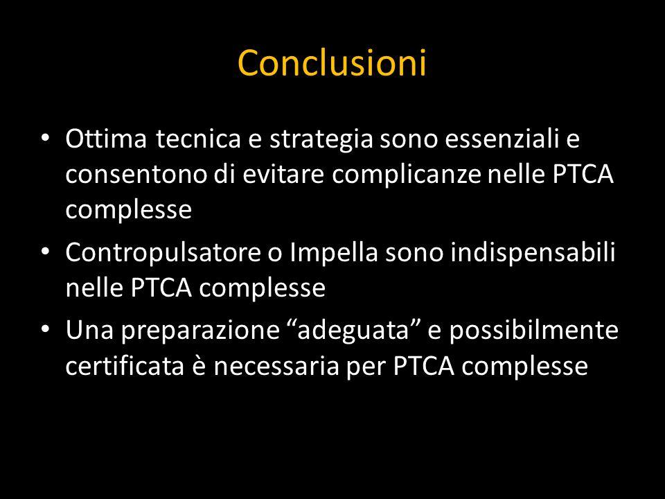 Conclusioni Ottima tecnica e strategia sono essenziali e consentono di evitare complicanze nelle PTCA complesse Contropulsatore o Impella sono indispe