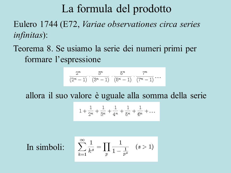 La formula del prodotto Eulero 1744 (E72, Variae observationes circa series infinitas): Teorema 8.
