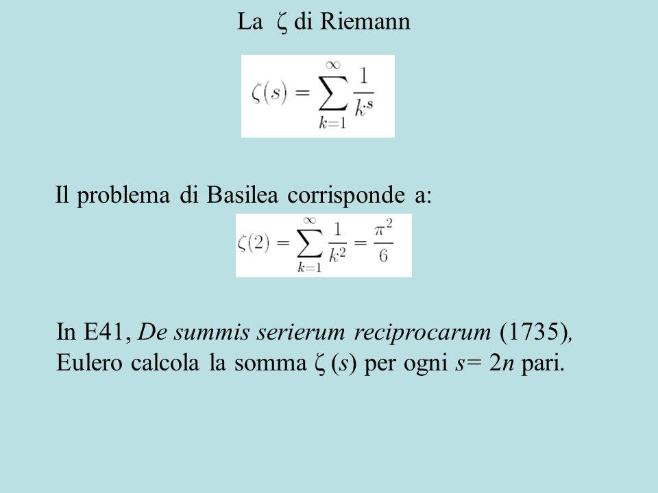 La ζ di Riemann Il problema di Basilea corrisponde a: In E41, De summis serierum reciprocarum (1735), Eulero calcola la somma ζ (s) per ogni s= 2n pari.