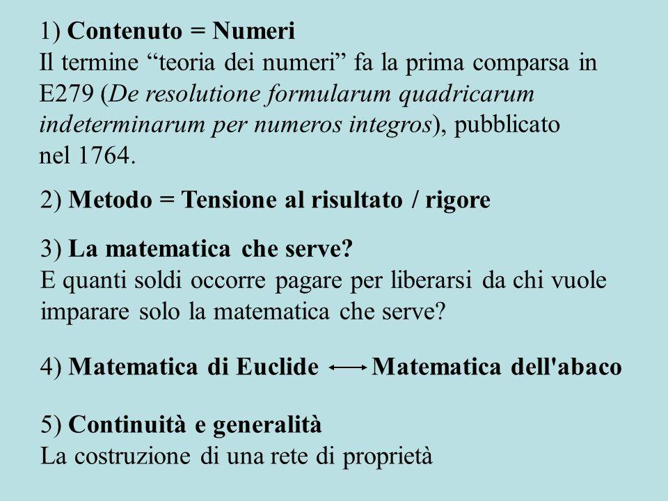 Eulero e la matematica che serve Dal piccolo teorema di Fermat (1640) al teorema di Eulero-Fermat (E271, Theoremata arithmetica nova metodo demonstrata, 1758).