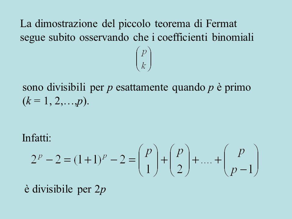 La dimostrazione del piccolo teorema di Fermat segue subito osservando che i coefficienti binomiali sono divisibili per p esattamente quando p è primo (k = 1, 2,…,p).
