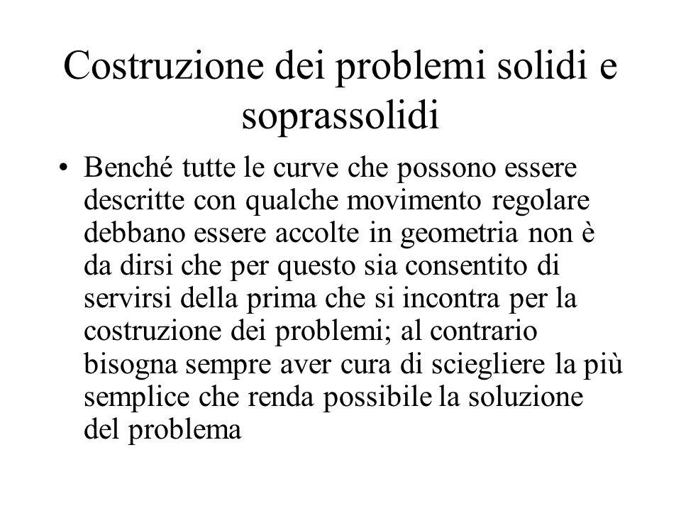 Costruzione dei problemi solidi e soprassolidi Benché tutte le curve che possono essere descritte con qualche movimento regolare debbano essere accolt
