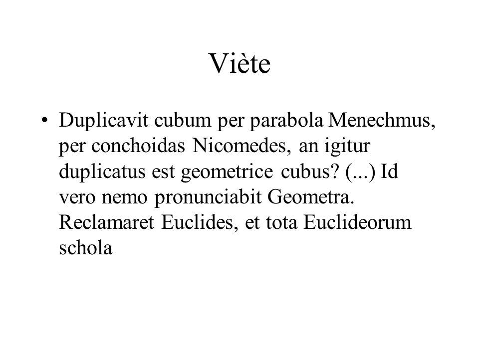 Viète Duplicavit cubum per parabola Menechmus, per conchoidas Nicomedes, an igitur duplicatus est geometrice cubus? (...) Id vero nemo pronunciabit Ge