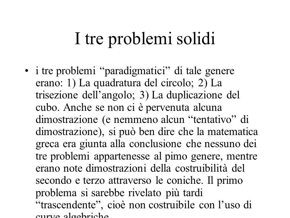I tre problemi solidi i tre problemi paradigmatici di tale genere erano: 1) La quadratura del circolo; 2) La trisezione dellangolo; 3) La duplicazione