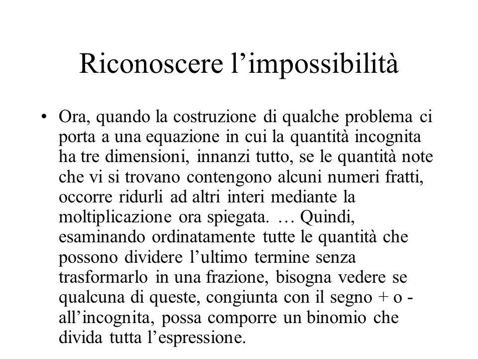 Riconoscere limpossibilità Ora, quando la costruzione di qualche problema ci porta a una equazione in cui la quantità incognita ha tre dimensioni, inn