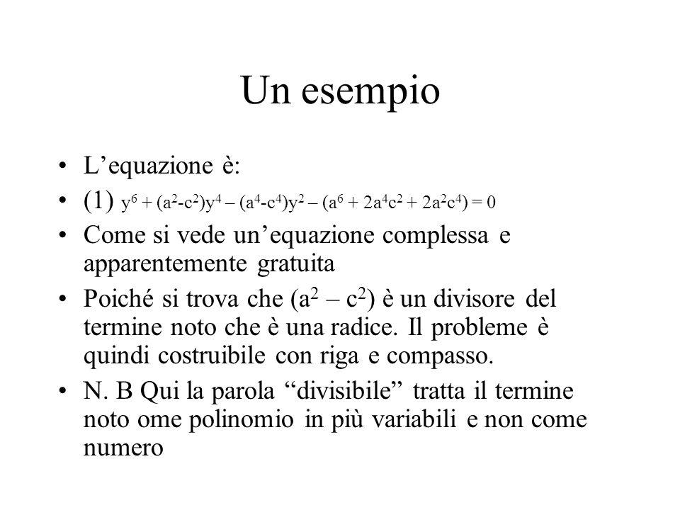 Un esempio Lequazione è: (1) y 6 + (a 2 -c 2 )y 4 – (a 4 -c 4 )y 2 – (a 6 + 2a 4 c 2 + 2a 2 c 4 ) = 0 Come si vede unequazione complessa e apparenteme