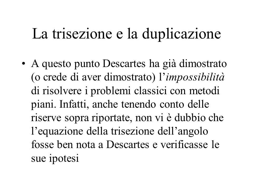 La trisezione e la duplicazione A questo punto Descartes ha già dimostrato (o crede di aver dimostrato) limpossibilità di risolvere i problemi classic