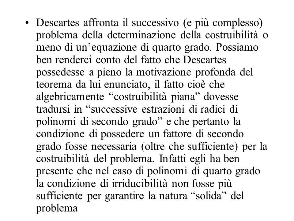 Descartes affronta il successivo (e più complesso) problema della determinazione della costruibilità o meno di unequazione di quarto grado. Possiamo b