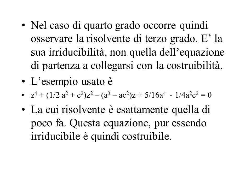 Nel caso di quarto grado occorre quindi osservare la risolvente di terzo grado. E la sua irriducibilità, non quella dellequazione di partenza a colleg