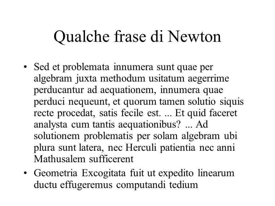 Qualche frase di Newton Sed et problemata innumera sunt quae per algebram juxta methodum usitatum aegerrime perducantur ad aequationem, innumera quae