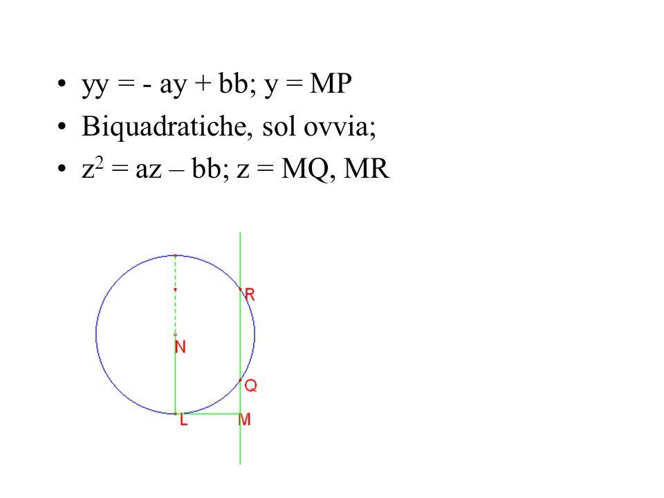 yy = - ay + bb; y = MP Biquadratiche, sol ovvia; z 2 = az – bb; z = MQ, MR